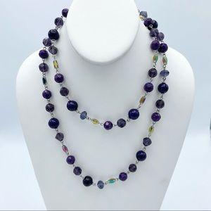 Purple Aurora Borealis Faceted Bead Long Necklace